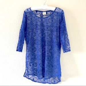 Abercrombie & Fitch Sheer Crotchet Tunic Top Small